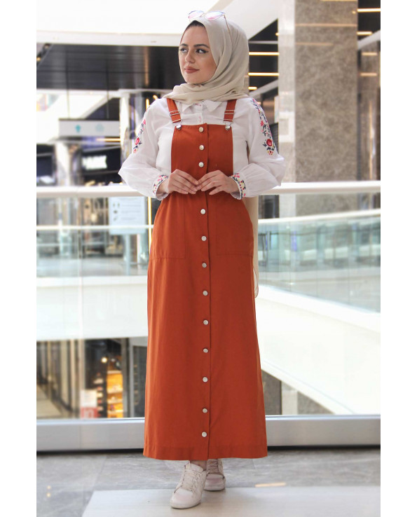 Women's Tile Red Summer Long Bib& Brace Dress