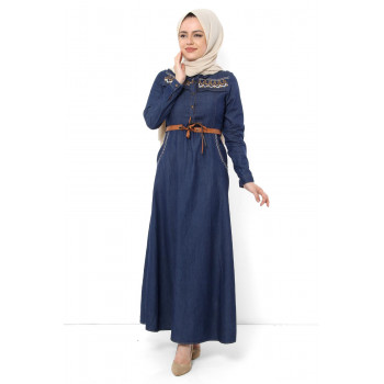 Women's Belted Sequin Dark Blue Denim Long Dress