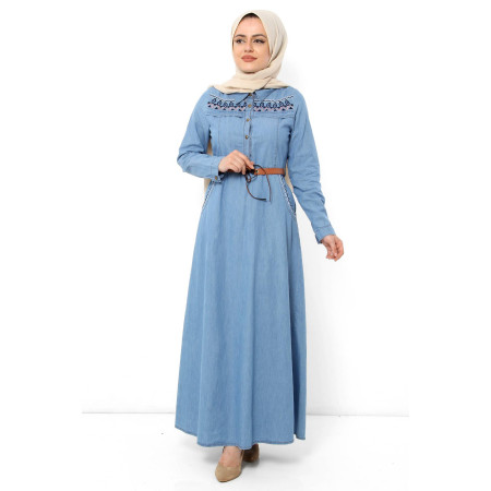 Women's Belted Light Blue Denim Long Dress
