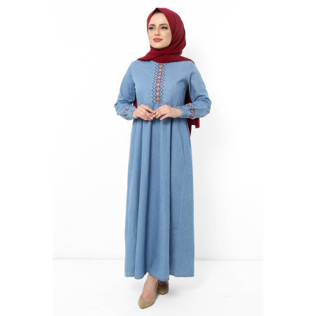 Women's Embroidered Light Blue Denim Long Dress