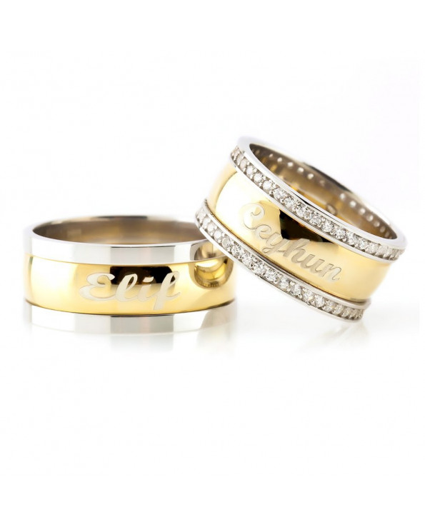Couple's Personalized Name Design Gold Plated 925 Carat Silver Wedding Rings