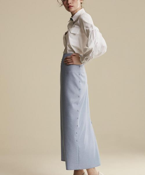 Women's Button Blue Long Pencil Skirt