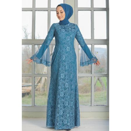 Women's Indigo Lace Modest Evening Dress