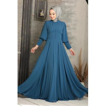 Women's Button Detail Blue Modest Evening Dress