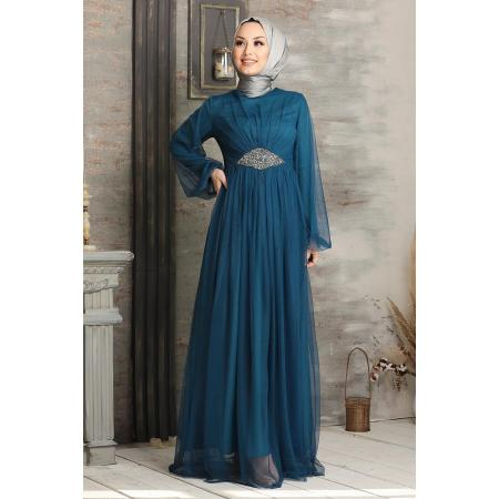 Women's Tulle Petrol Blue Modest Evening Dress