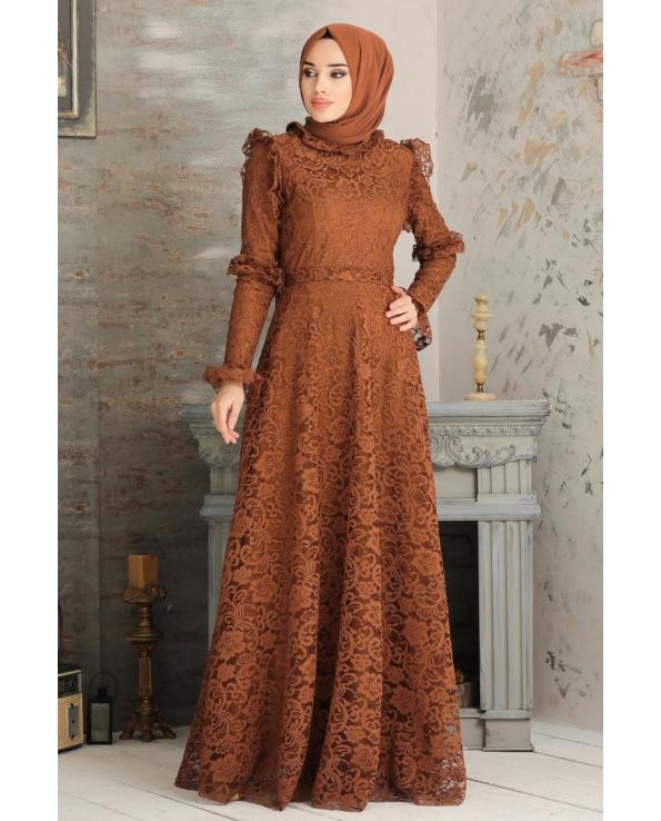 Women's Lace Embroidered Ginger Modest Evening Dress