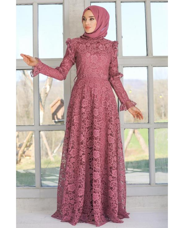 Women's Lace Embroidered Dark Dusty Rose Modest Evening Dress