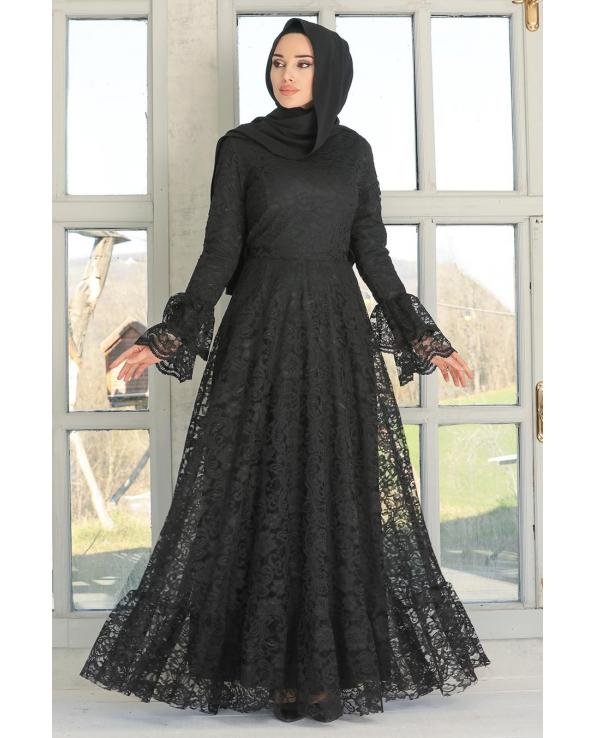 Women's Lace Embroidered Black Modest Evening Dress