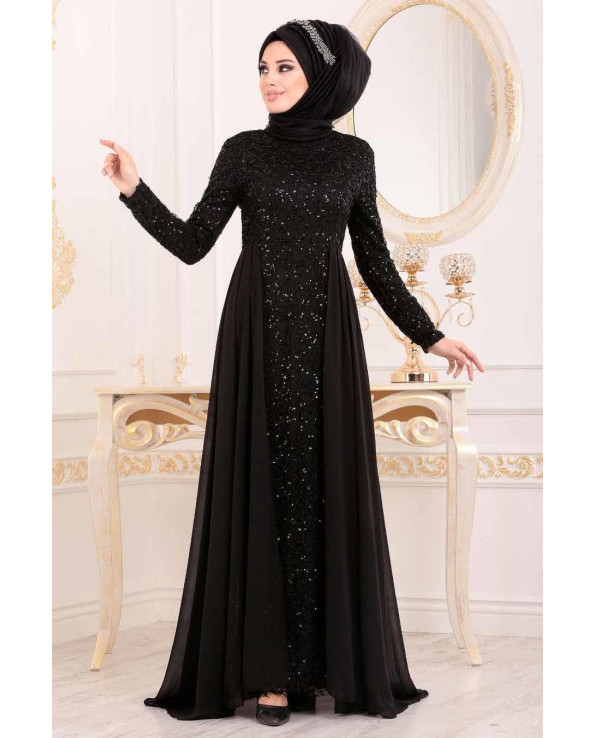 Women's Sequined Black Evening Dress