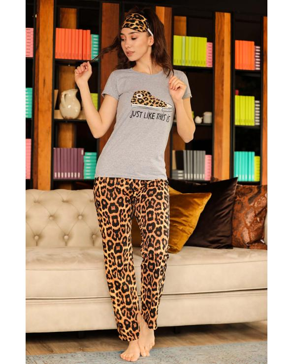 Women's Leopard Pattern Grey Pajama Set