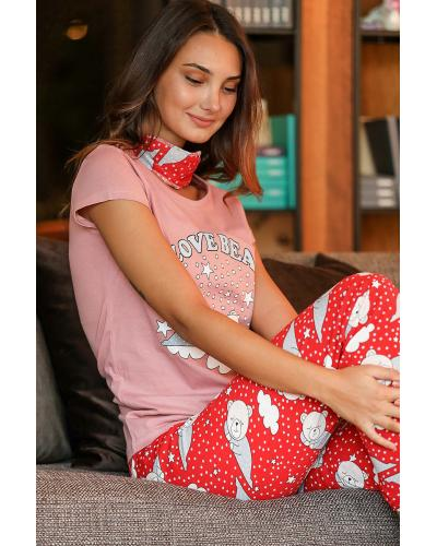 Women's Patterned Dusty Rose - Red Pajama Set