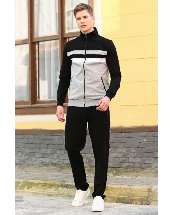 Men's Zipped Black Sweat Suit