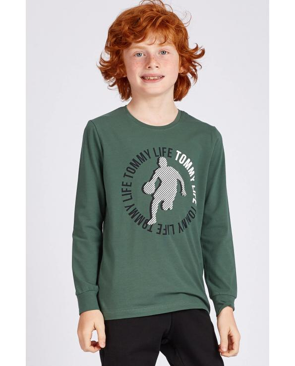 Boy's Front Printed Green Sweatshirt