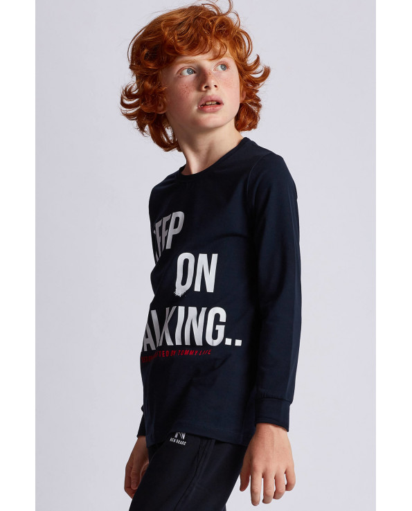 Boy's Text Print Navy Blue Sweatshirt