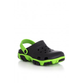 Unisex Black Green Slippers