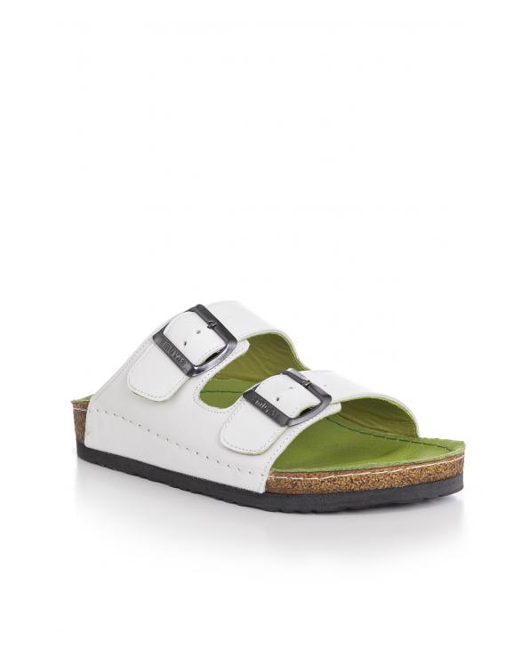Unisex Double Buckle White Slippers