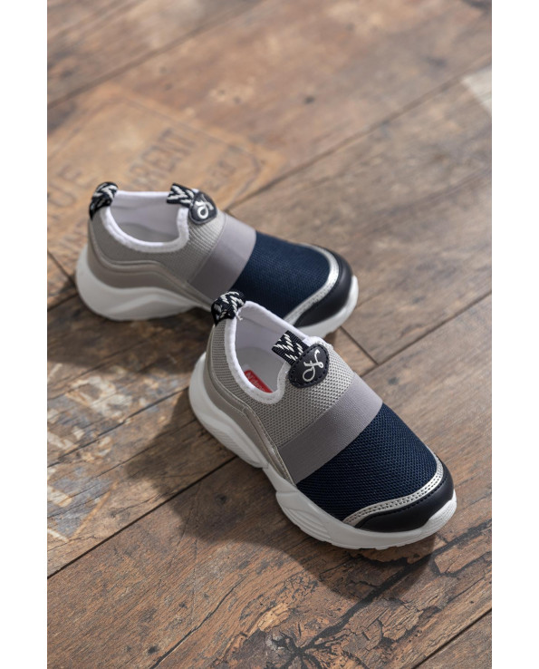 Kid's Navy Blue- Grey Sport Shoes
