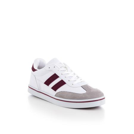 Unisex White - Claret Red Sport Shoes