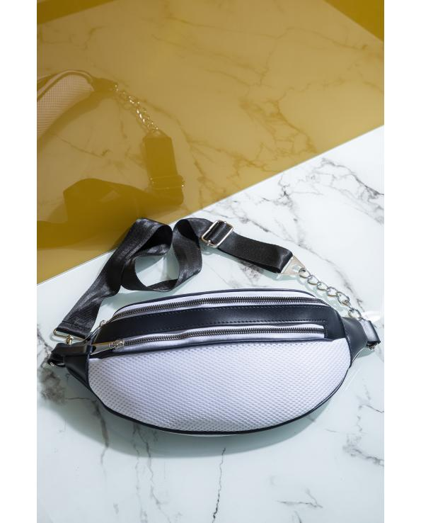 Women's Navy Blue - White Waist Bag