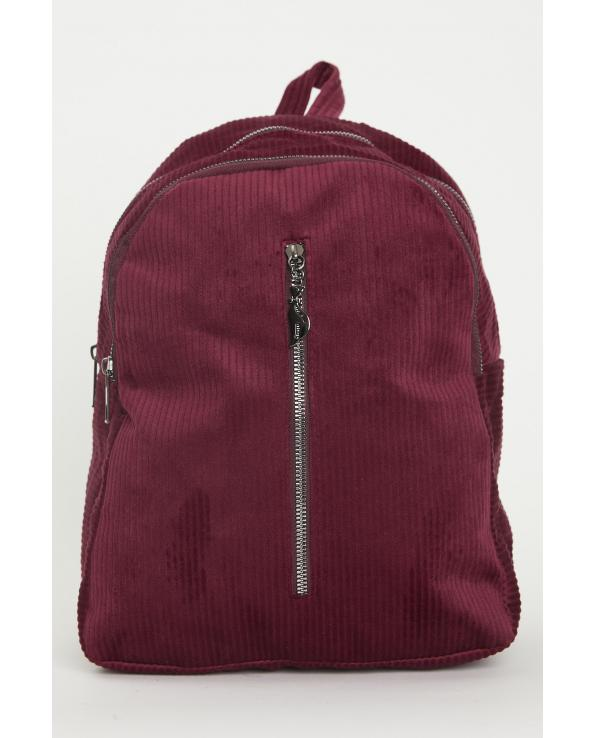 Women's Zipped Claret Red Velvet Big Backpack
