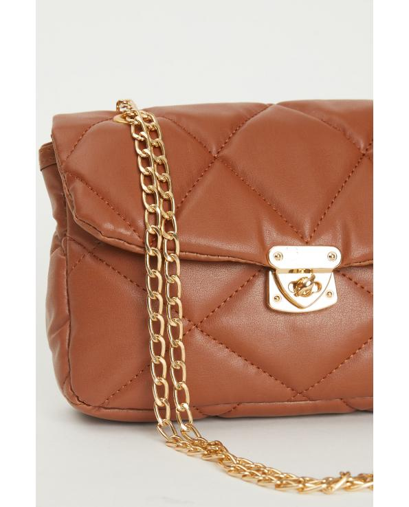 Women's Chain Detail Brown Quilted Crossbody Bag