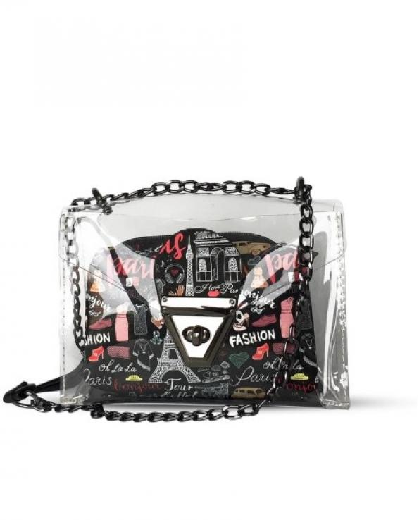 Women's Printed Black Transparent Crossbody Bag