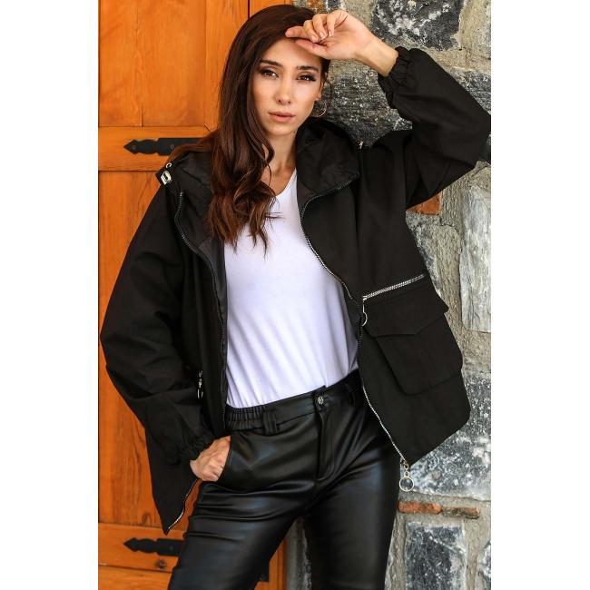 Women's Hooded Black Trenchcoat