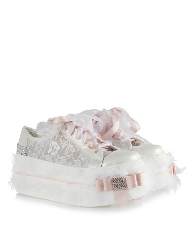 Women's High Base Gemmed Feathered White Bridal Sport Shoes