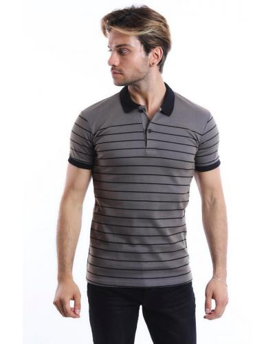 Men's Polo Collar Striped Grey Slim Fit T-shirt