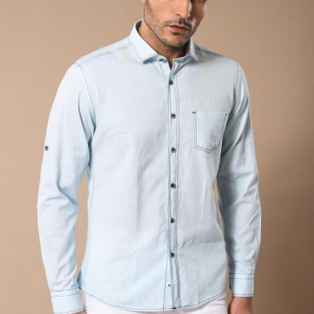 Men's Ice Blue Slim Fit Shirt