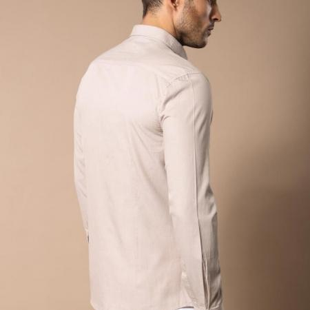 Men's Beige Cotton Slim Fit Shirt