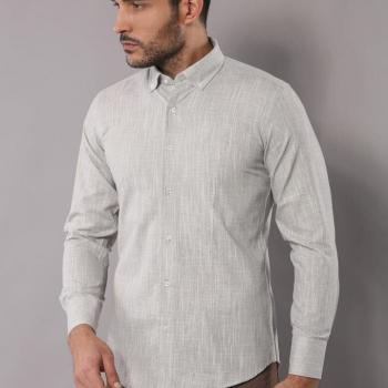 Men's Grey Linen Shirt