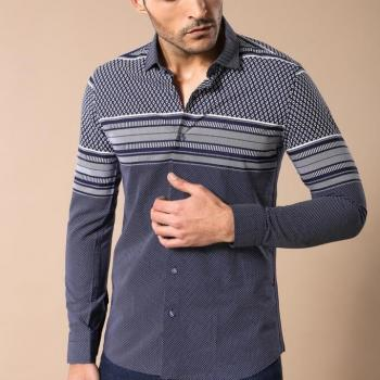 Men's Patterned Navy Blue Shirt
