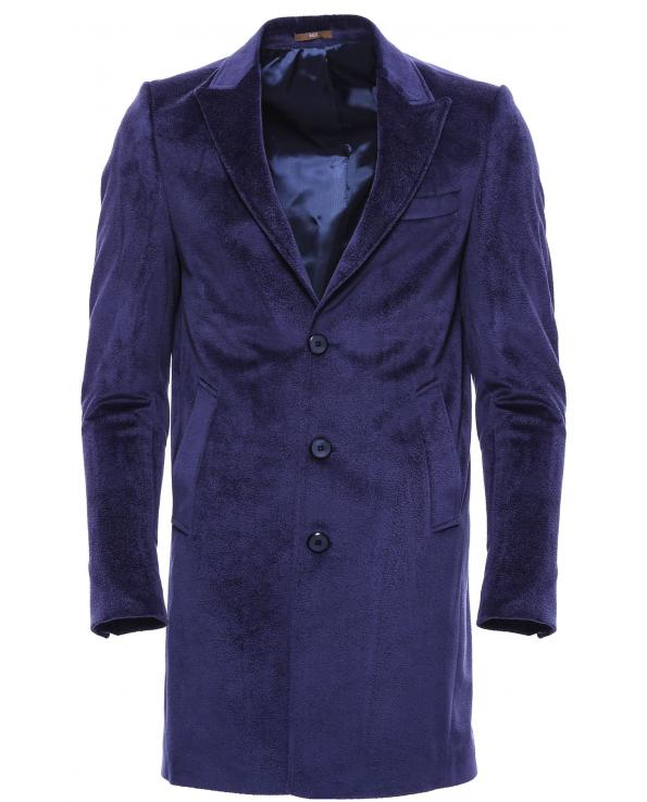 Men's Surplice Neckline Dark Blue Coat