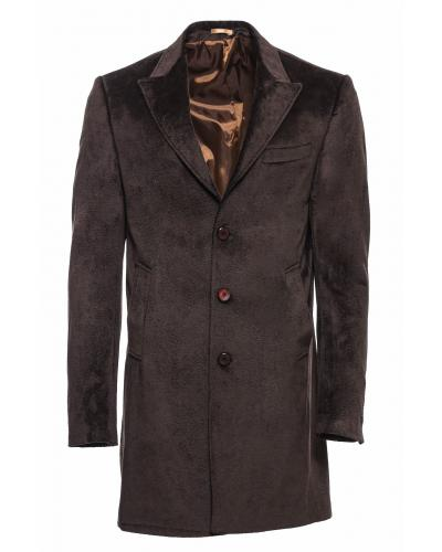 Men's Surplice Neckline Brown Coat