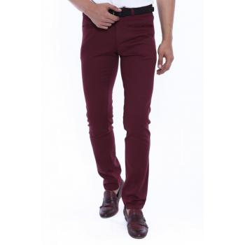 Men's Claret Red Cotton Pants