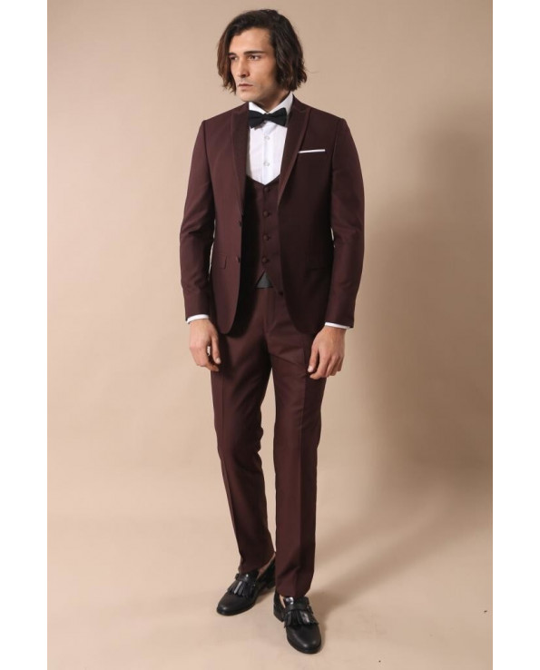 Men's Claret Red Formal Suit Set