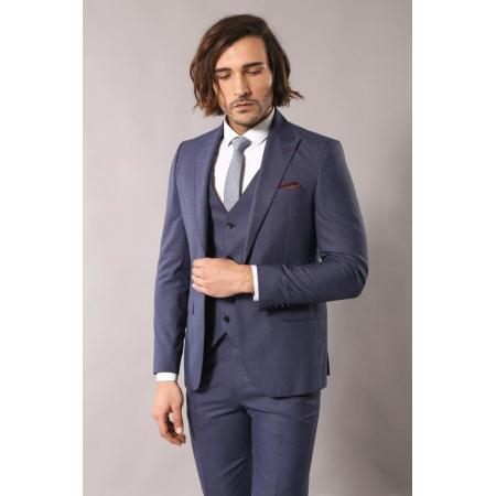 Men's Patterned Dark Blue Formal Suit Set