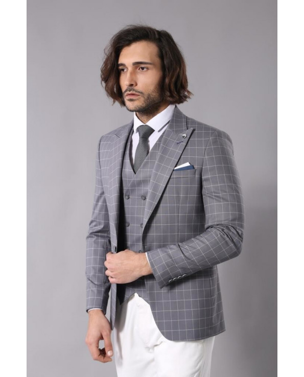 Men's Wrap Checkered Grey Formal Suit Set
