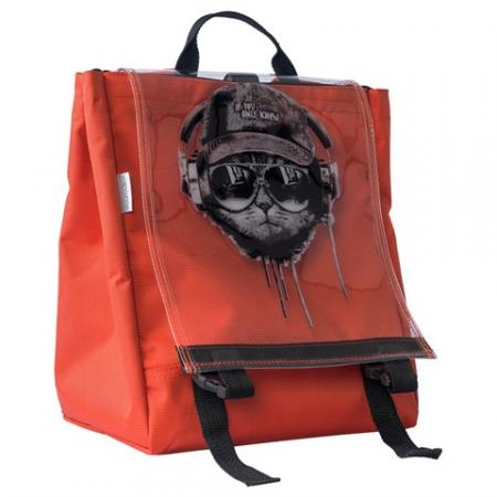 Unisex Cat Print Orange Backpack