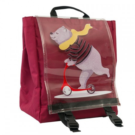 Unisex Bear Print Claret Red Backpack