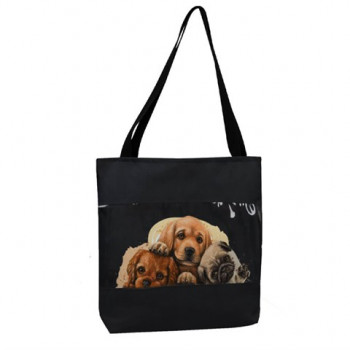 Women's Dog Print Transparent Detail Fabric Sleeve Bag