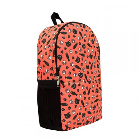 Unisex Patterned Orange Leather School Bag