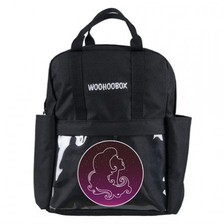 Virgo Print Transparent Pocket Black Backpack