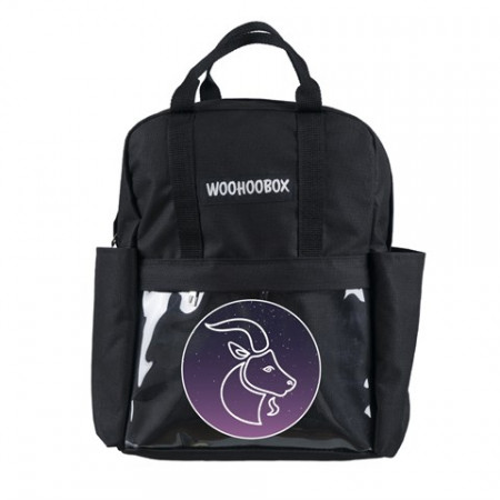 Capricorn Print Transparent Pocket Black Backpack