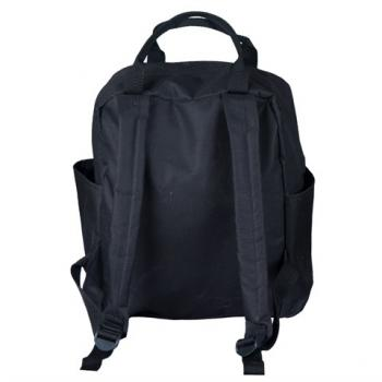 Letter M Design Transparent Pocket Black Backpack