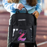 Galaxy Pattern Letter Z Design Transparent Pocket Black Backpack