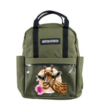 Giraffe Print Transparent Pocket Khaki Backpack