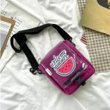 Printed Transparent Cover Strappy Claret Red Crossbody Bag