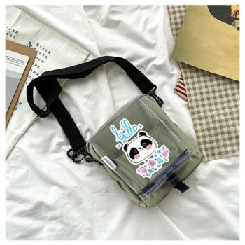 Transparent Cover Panda Print Strappy Khaki Crossbody Bag